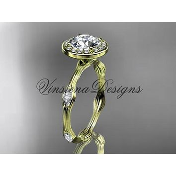 "14k yellow gold leaf and vine engagement ring, ""Forever One"" Moissanite VD10075"