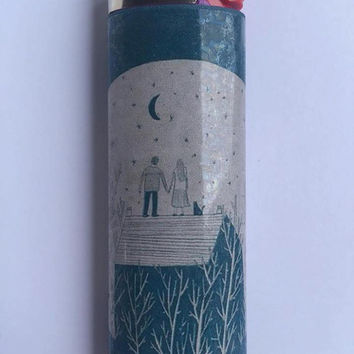 Couple watching the night sky custom BIC lighter