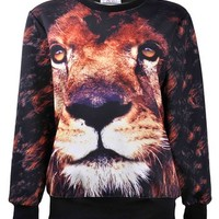 ZLYC Women Girls 3D Lion Face Novelty Print Sweatshirt Animal Sweater Pullover Lion Face