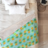 Lisa Argyropoulos Pineapples And Polka Dots Fleece Throw Blanket
