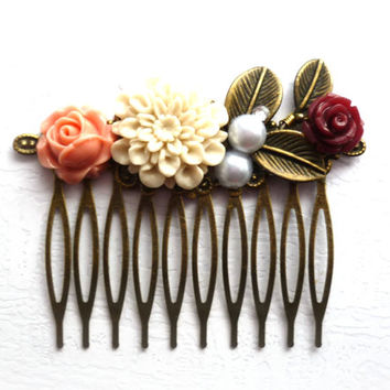 Pastel Bridal Hair Comb, Leafy Wedding Hair Accessories,Floral Comb, Ivory, Coral, Burgundy flowers and white Pearls Vintage weddings