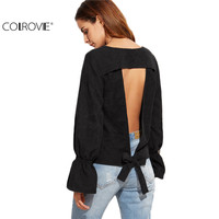 COLROVIE Black Bell Sleeve Open Back Corduroy Blouse Autumn Women Round Neck Long Sleeve Backless Shirt Blouse