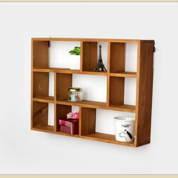 1PC Hollow Wooden Wall Shelf Storage Holders Racks Desktop Shelves Wall Mounted Kitchen Bathroom Decor Shelves Prateleira JL 042