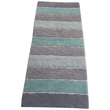 Stripe Design Cotton Bath Runner, Multicolor