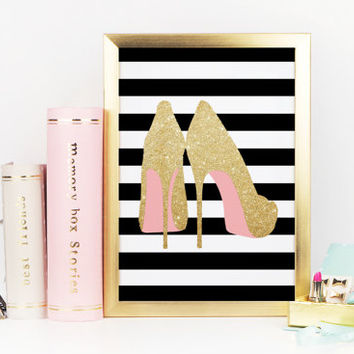 HIGH HEELS SHOES,Digital Art Print,Gift For Her,Glitter Design,High Heels Decor,Womens Gift,Girls Room Decor,Wall Art,Gold Glitter