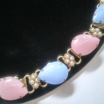 ON SALE Vintage Chunky Bracelet Pink Blue & Faux Pearl Mid Century 1950's Jewelry