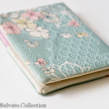 Vintage Silk Hand Paint Bridal Something Blue PHOTO ALBUM