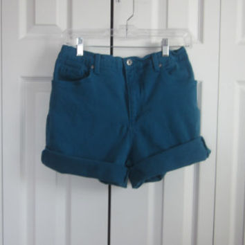 Vintage Teal High Waisted Shorts Hipster Stretch Denim Mom Cut Off Jean Shorts Gloria Vanderbilt Cutoffs Womens 10 High Waist 33