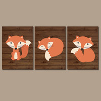 FOX Wall Art Woodland Nursery Forest CANVAS Woodland Prints Boy Bedroom Wall Art Wood Background Set of 3 Baby Boy Nursery Decor