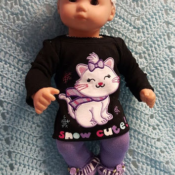 """Baby Doll Clothes to fit 15 inch doll """"Snow Cute"""" Will fit Bitty Baby®  doll outfit tunic leggings socks headband kitten winter Q3"""