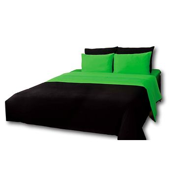 Tache 4-6 Piece Lime Green and Black Reversible Comforter Set (CS6PC-GB)