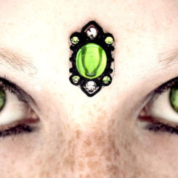 Envy Green Bindi, gothic, gypsy, tribal fusion, fairy, fantasy, wicca, third eye, pagan, absinthe, dark fusion, bellydance, costume, fae