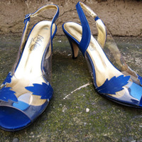 Vintage Retro Royal Blue L.A. Lady High Heel Shoes Size 7.5 Pumps Clear Plastic Leaf Print Salsa Tango Dance Peep Toe 50s 60s prom Pin Up