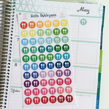 60 Rainbow Meal Icon Planner Stickers - #077