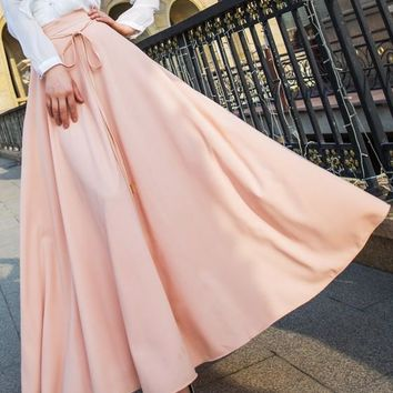 Nude Draped Bow Belt High Waisted Below Knee Fashion Maxi Skirt