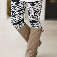 Like No Other Printed Leggings - Black and Ivory - one