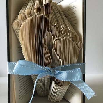 New Baby Feet Book Fold Baby Girl Baby Boy Folded Book Design Book Sculpture Baby Shower Present Christmas Gift Christening Gift Book Art