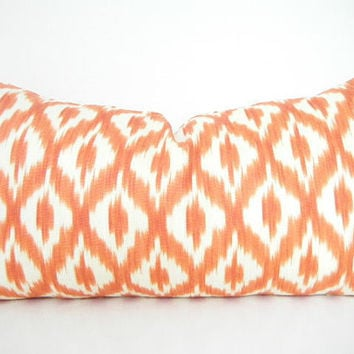 Orange Lumbar Pillow, Pillow with Orange, Ikat Pillows, Orange and White Throw Pillow Covers 18x18 Inch