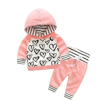 2Pcs Toddler Kids Baby Girls Clothes Set Hooded Long Sleeve Tops + Pants Outfits