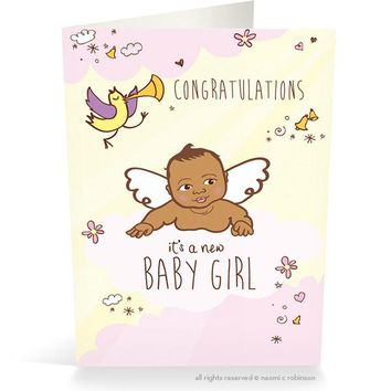 Congrats it's a New Baby Card- Girl