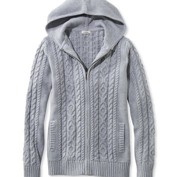 Women's Double L Mixed Cable Sweater, Zip-Front Hoodie | Free Shipping at L.L.Bean