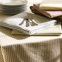 VINTAGE TICKING STRIPE TABLECLOTH