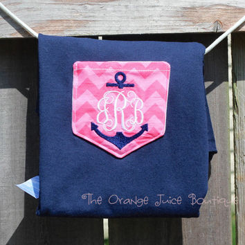 Navy with Pink Chevron Anchor Monogrammed Pocket T-shirt- Women's-sorority shirt long sleeve-graduation-bridesmaids gift