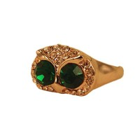 MagicPieces Rhodium Plated Alloy Big Green Eye Owl Ring Color Gold for Women in US 6 and US 7