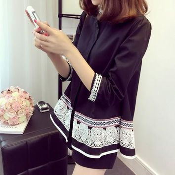 New New Fashion Ladies' Chinese Style Embroidery Lace Blouses Stand Collar White Blue Beaded Cotton Shirts