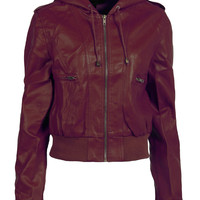 LE3NO Womens Edgy Faux Leather Zip Up Bomber Jacket with Hood