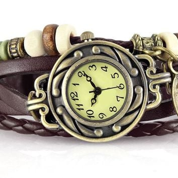 Vintage Leather Braided Wrist Watch Bracelet with Beads - Brown Strap - You Choose The Charm! - Chunky Leather Bracelet Watch