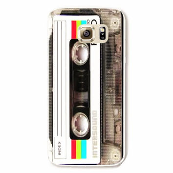 Samsung Galaxy S6 Vintage Cassette Tape Case Hard Plastic Galaxy S6 Edge Retro Audio Tape Back Cover Samsung S6 Edge Cover Cassette SE19