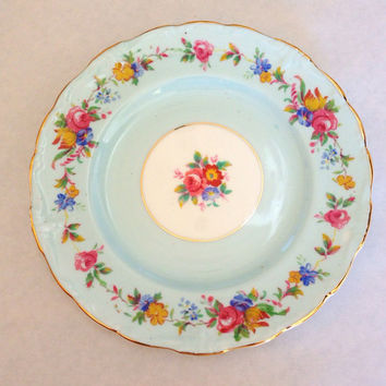 Paragon Afternoon Tea Sandwich or Dessert Plates - 5 available - pale blue - wild flowers - roses pink yellow - bridal wedding shower