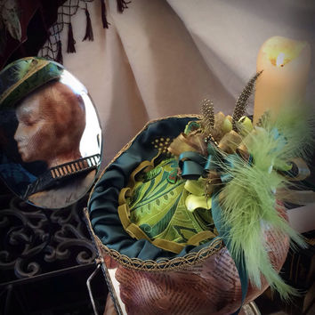 Women Green Silk Brocade Victorian Edwardian Style Hat-The Luck O The Irish -ladies headpiece
