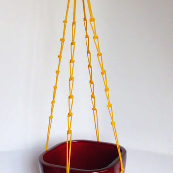 Modern Macrame plant hanger-indoor plant holder-Hanging Planter-Hanging Basket-beaded macrame basket- macrame pot hanger-yellow plant hanger