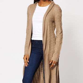 Shop Long Cable Knit Cardigan on Wanelo