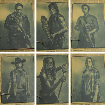 Rick Grimes retro posters Wall sticker The Walking Dead vintage Poster retro wall decal