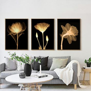 WANGART 3 Pieces Paintings Canvas Print Flowers Plant in the Dark Still Life Wall Pictures for Living Room Home Decor JY0262-264