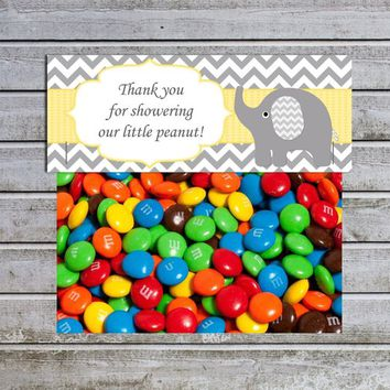 Treat Bag Toppers | Candy Bag Topper | Favor Bags Toppers Printable Elephant Baby Shower Yellow Gray (87) | Little Peanut | Instant Download
