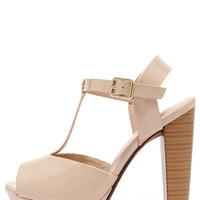 Glossed and Found Nude Patent T Strap Platform Heels