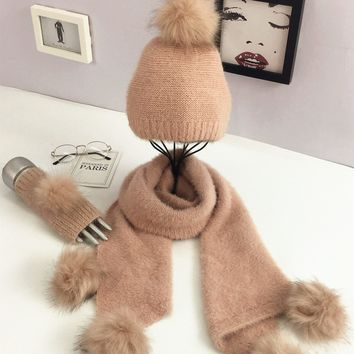 Winter Hair Bulb Knitting Three-piece Solid Color Warm Wool Hats Scarf Glove Suit Christmas Suit Women Pink Black Gray 3 Pcs Set