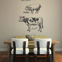 kik2845 Wall Decal Sticker cow pig chicken meat kitchen restaurant shop