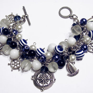 Nautical Sailing Charm Bracelet Glass and Acrylic Beads Blue White Beaded Bracelet