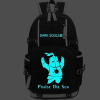 Hot Game Dark Souls 3 Backpack Cosplay Fashion Praise the Sun Canvas Bag Luminous Schoolbag Travel Bags