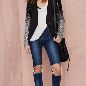 Gradient Sequined Blazer