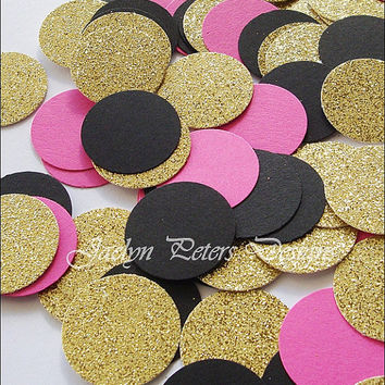 Party Confetti, Gold Glitter, Hot Pink And Black, Bridal Shower Supply, Wedding Decor, Birthday Table Scatter, Sweet 16 Party, 150 Pieces