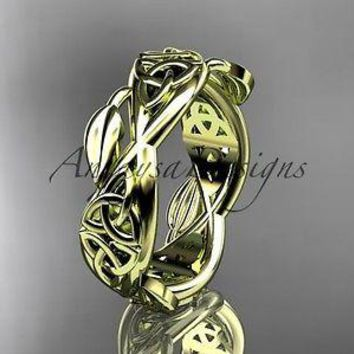 14kt yellow gold celtic trinity knot wedding band, triquetra ring, CT7520G