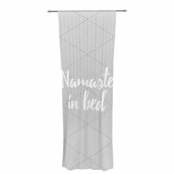 "KESS Original ""Namaste In Bed Grey"" White Gray Decorative Sheer Curtain"