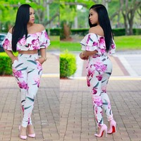 Women Print 2 Piece Set Sexy Slash Neck Ruffle Crop Top And Summer Bodycon Pant