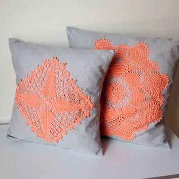 Throw pillow cover set of 2, fabric and crochet lace decorative pillow, gray and pech pillow cover